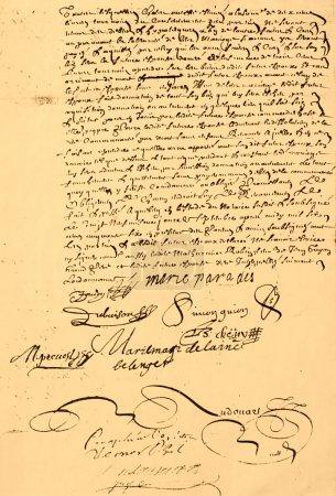 Photo pour Contrat de mariage canadien original manuscrit, daté de 1656, page 2 de 2 . - image libre de droit