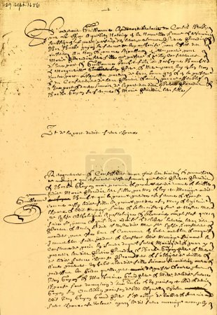 Photo pour Manuscrites contrat mariage canadien original, en français, datée de 1656, page 1 de 2. - image libre de droit