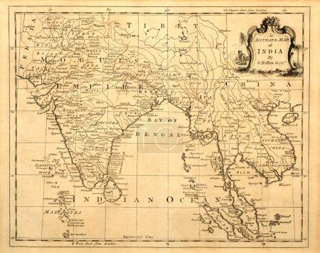 Старая карта Индии и Юго-Восточной Азии