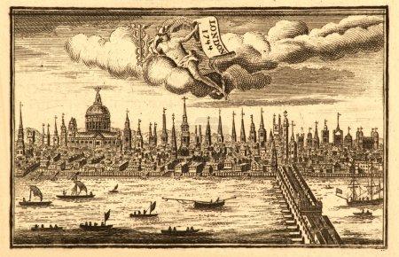 Photo pour Vue de la ville de Londres de la rivière thames, gravure sur bois, daté de 1744. - image libre de droit