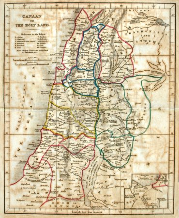 Photo pour Carte rapide et originale de la Terre Sainte, ligne colorée, daté de 1836. - image libre de droit