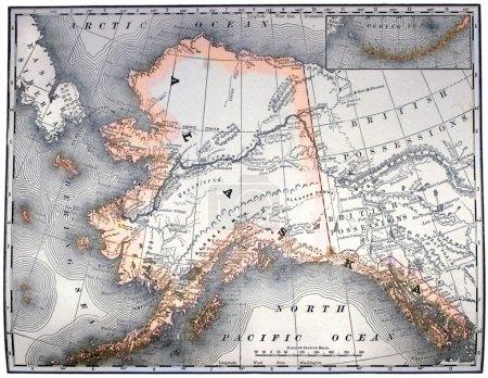 Photo pour Vintage carte gravée de l'alaska, couleur de ligne, datée 1889. - image libre de droit