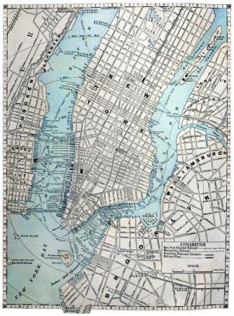 ancienne carte de rue de new york city