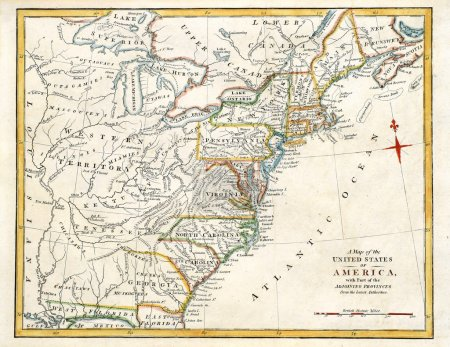 Photo for Early original map of early America, printed in England in 1795. - Royalty Free Image
