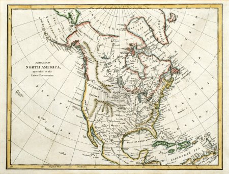 Photo pour Début carte colorée de l'Amérique du Nord, imprimées en Angleterre et daté de 1791. - image libre de droit