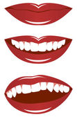Set smiling female lips isolated on a white background Vector illustration