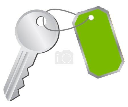 Illustration pour Icône clé vectorielle avec une étiquette verte - image libre de droit