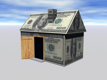 3D Render Real Estate house and money