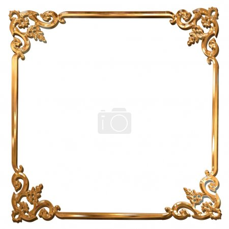 Abstract golden floral frame concept