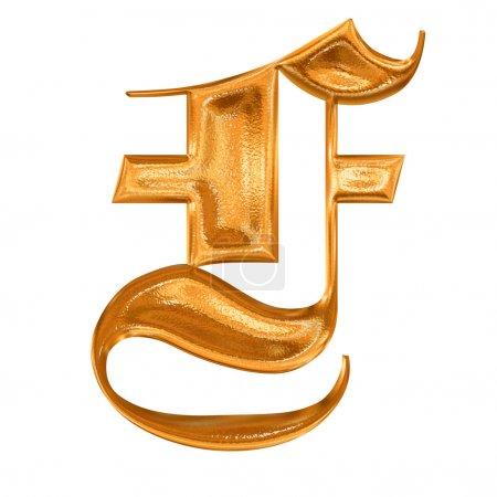 Modèle doré lettre gothique F