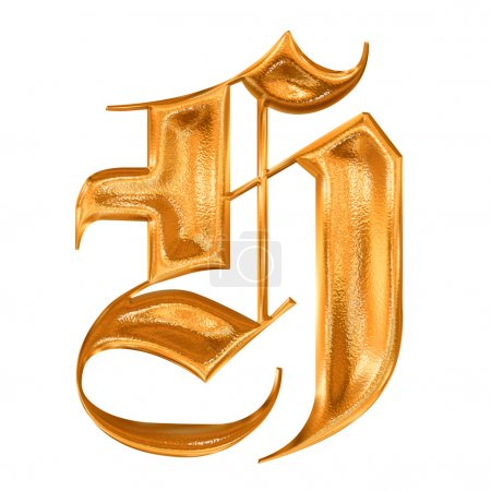 Golden pattern gothic letter H