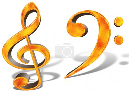 Golden pattern musical notes concept