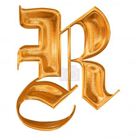 goldenes Muster gotischer Buchstabe r