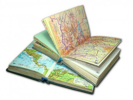 Two old map atlas books isolated