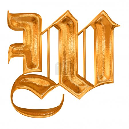 goldenes Muster gotischer Buchstabe w
