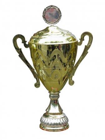Gold trophy cup pedestal with space