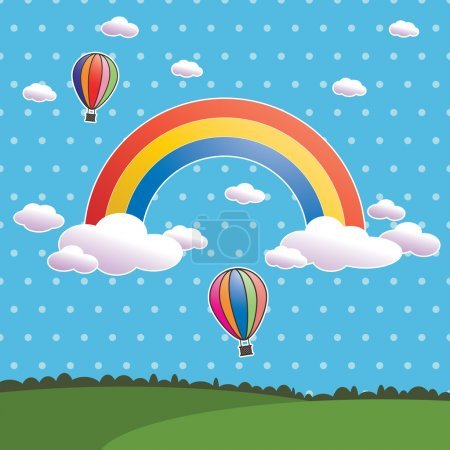 Illustration for Blue polka dot sky with rainbow and hot air balloons - Royalty Free Image