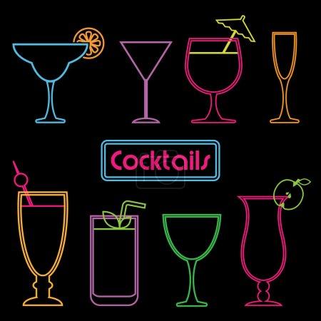 Illustration pour Collection de symboles cocktail néon - image libre de droit