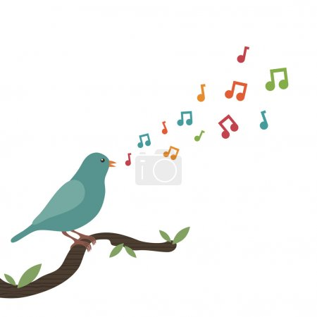 Blue bird perched on branch singing a tune...