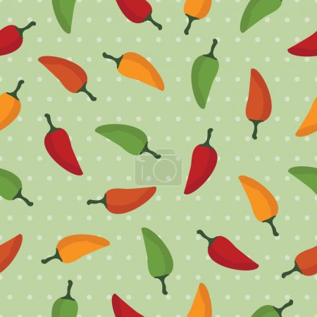 Illustration for Chilli pepper seamless pattern with clipping mask - Royalty Free Image
