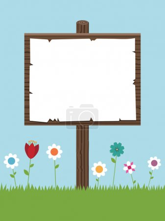 Illustration for Blank wooden sign post with flowers ready for your text - Royalty Free Image