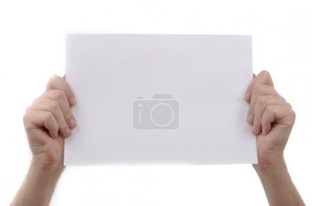 Photo for Man is holding a piece of blank white paper, presentation background image. - Royalty Free Image
