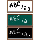 Set of 3 school boards black and green chalkboards and a dry erase board
