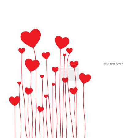 Illustration for Love card with red hearts - Royalty Free Image