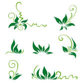 Green leaves and swirls for decor Vector illustration