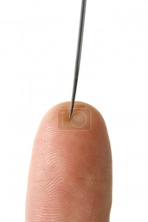 Photo for Needle with finger isolated closeup - Royalty Free Image