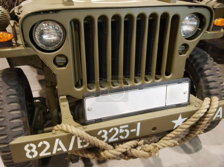 Green cowl of the military car