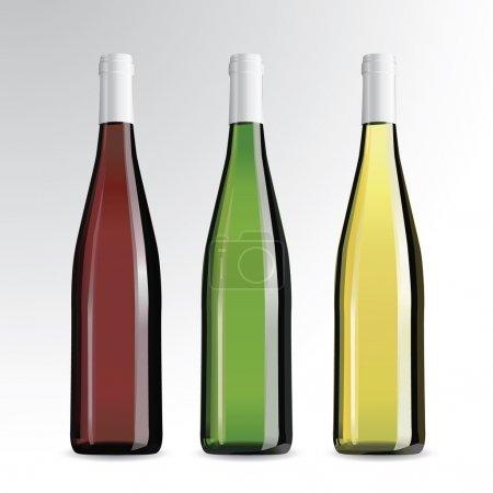 Realistic vector bottles of wine