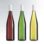 Realistic vector bottles of wine