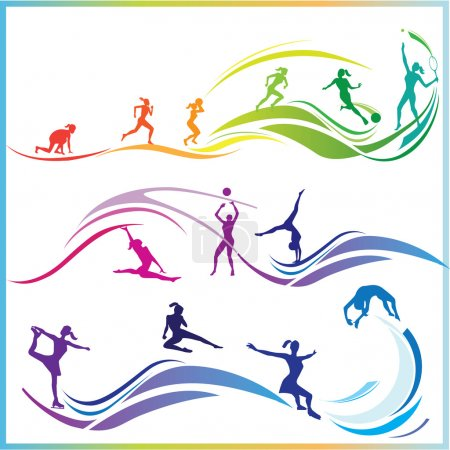 Illustration for Vector illustration of woman in different sports - Royalty Free Image