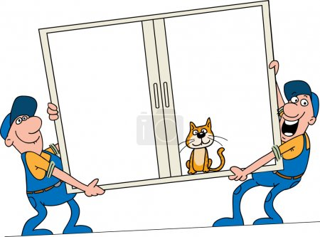 Illustration for Installation of windows. Workers bear a window to the customer - Royalty Free Image