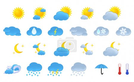 Illustration for Weather icons set in vector - Royalty Free Image