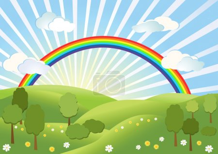 Illustration for Rainbow on the sky. Landscape. Vector illustration. - Royalty Free Image