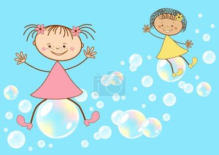 Illustration pour Les enfants volent sur des bulles de savon. Illustration vectorielle . - image libre de droit