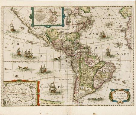 Photo pour Carte de l'Amérique daté 1631 montrant vers le Nord et l'Amérique du Sud - image libre de droit