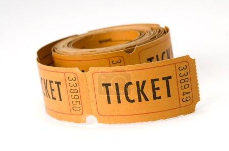 Photo pour Talons de billet orange sur fond blanc, soit dire billet ou garder ce coupon - image libre de droit