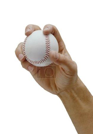 Photo pour Main d'homme tenant une balle de baseball comme pour lancer un lancer - image libre de droit