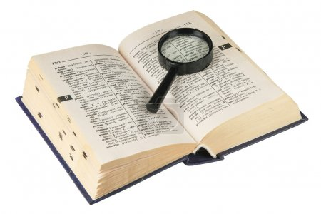 Revealling book with magnifying glass