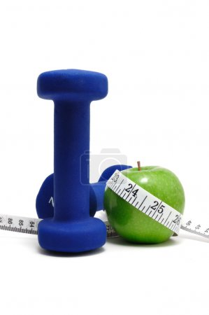 Weights, Green Apple, and Tape Measure