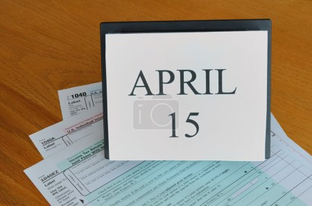April 15 on calendar, 1040 tax forms