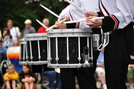 Photo for Drummers Playing Snare Drums in Parade, Copy Space - Royalty Free Image