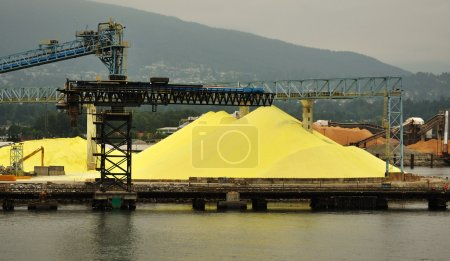 Piles of Yellow Sulphur on Dock