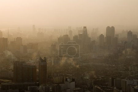 Morning city with fog and smog, cityscape