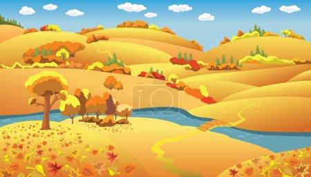 Illustration pour Dessin animé automne Paysage, arbres et collines et la rivière sur la plaine, illustration vectorielle - image libre de droit