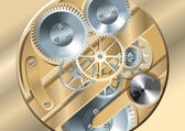 Gears of clockwork mechanism shining metal vector illustration
