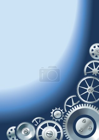 Illustration for Mechanical or technological background with different gears, clockwork mechanism, copy-space vector illustration - Royalty Free Image